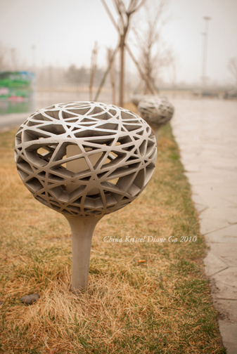 Bird's nest inspired lamp along the Beijing National Stadium