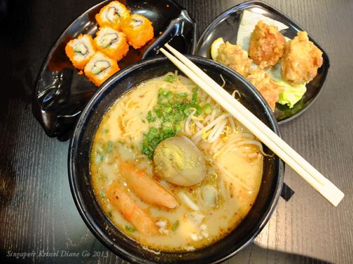Seafood Ramen + California Maki + Chicken Karaage